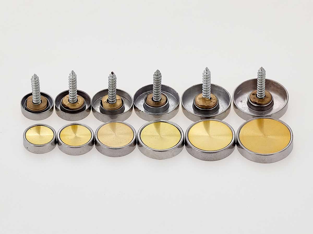 Декоративные колпачки металлические со вставкой золото