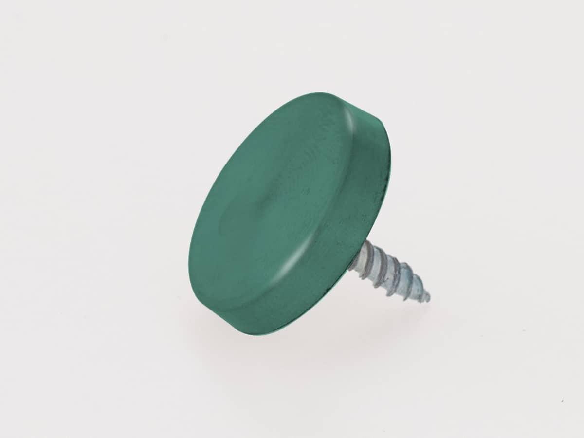 Зеленый декоративный колпачок, плоский с саморезом